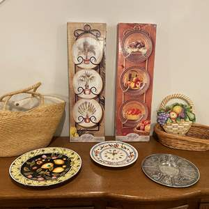 Lot # 199 - Two New in Box Plate Racks, Decor, Basket & More..
