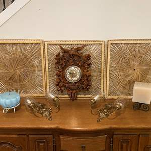 Lot # 200 - Wicker Wall Decor, Acrylic Clock, Brass Wall Scones & Two Large Candles