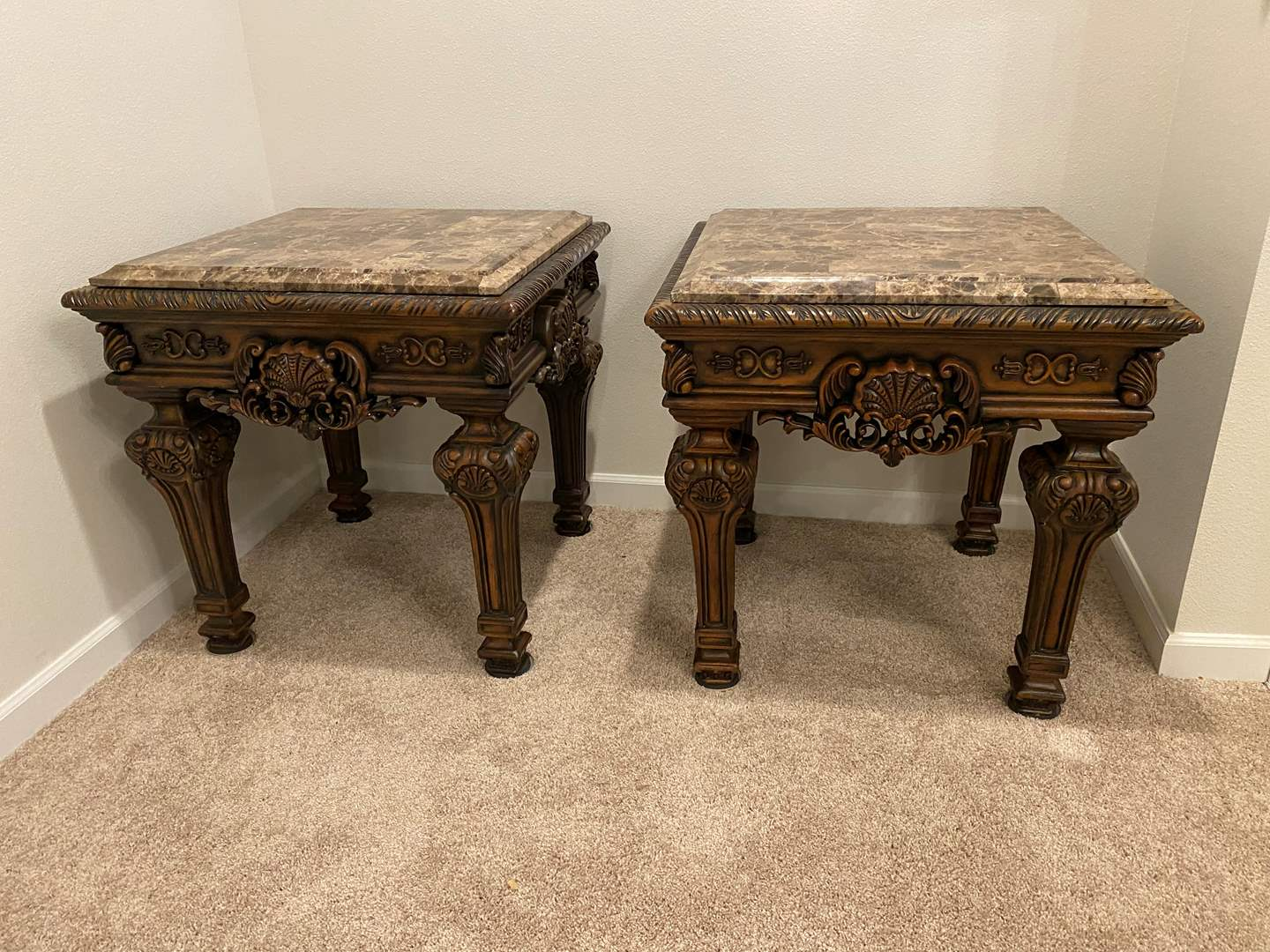 Lot # 201 - Two Large Wood End Tables w/ Alabaster Top (main image)