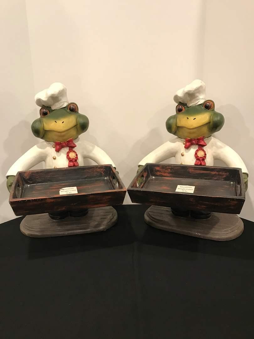 Lot # 221 - 2 Large Frog Chef Decor (main image)