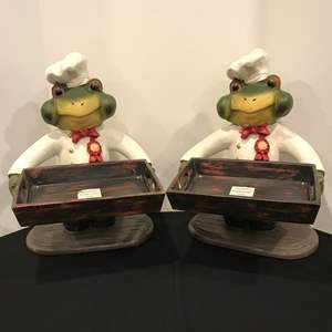 Lot # 221 - 2 Large Frog Chef Decor