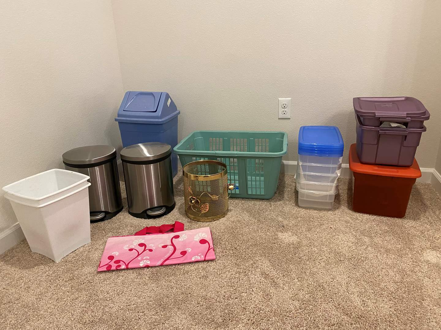 Lot # 231 - Selection of Household Items: Laundry Basket, Plastic Bins, Stainless Steel Small Garbage Cans & More.. (main image)