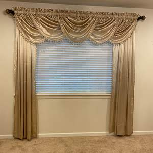 Lot # 233 - Nice Set of Curtains, Curtain Rods & Two Separate Valances
