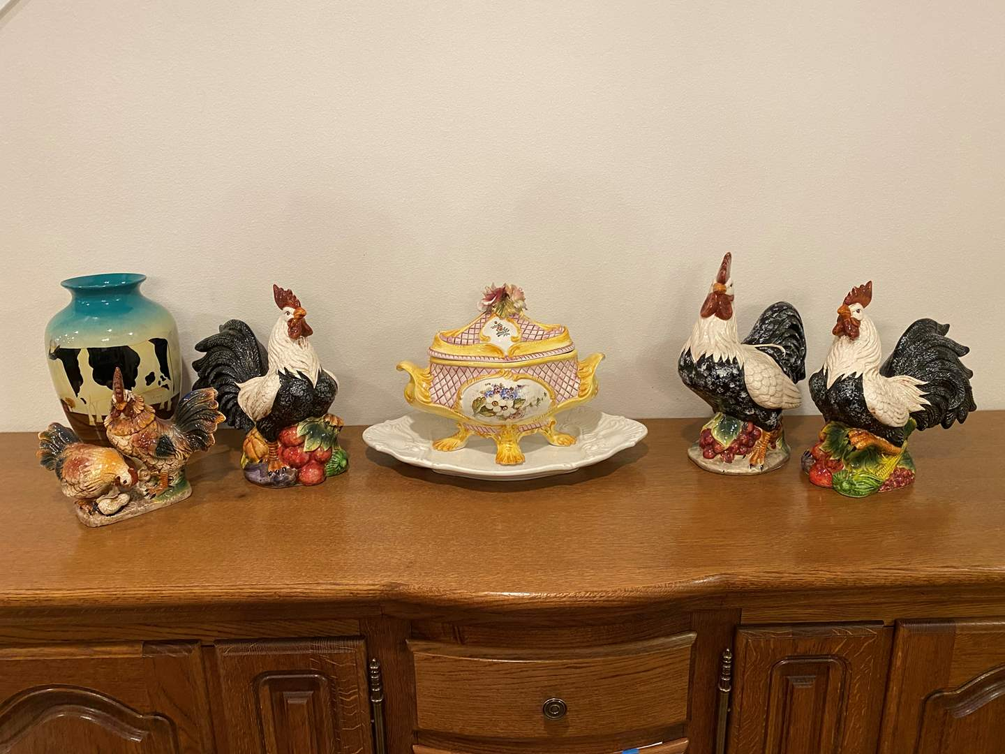 Lot # 234 - Ceramic Roosters, Capodimonte Tray w/Dish, Painted Cow Vase (main image)