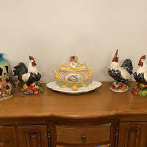 Lot # 234 - Ceramic Roosters, Capodimonte Tray w/Dish, Painted Cow Vase