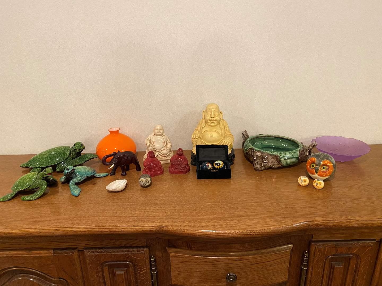 Lot # 235 - Heavy Buddha Sculptures, Wood Turtles, Elephant Dish, Glass Vase & More..  (main image)