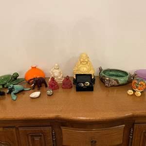 Lot # 235 - Heavy Buddha Sculptures, Wood Turtles, Elephant Dish, Glass Vase & More..