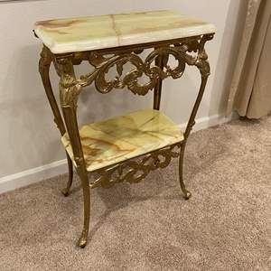Lot # 236 - Brass & Marble Table