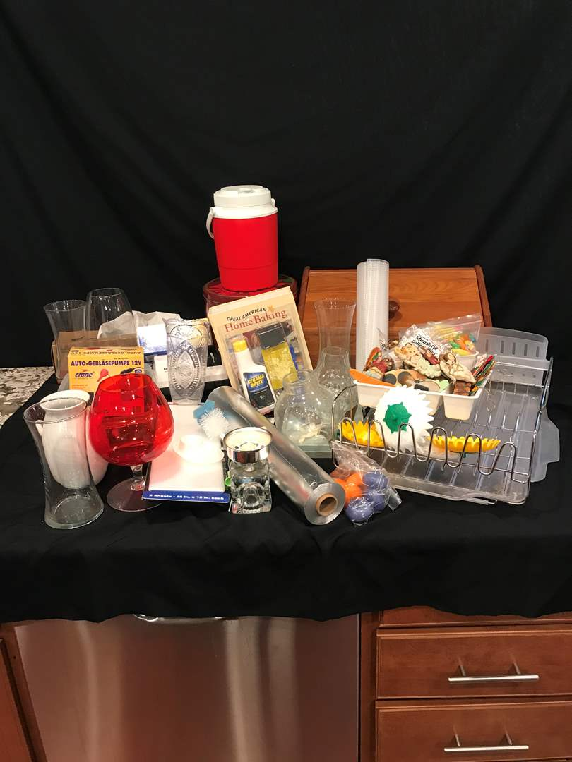 Lot # 224 - Misc. Items: Dish Drying Rack, Magnets, Foil, Bread Box, Electric Knife Sharpener & More.. (main image)
