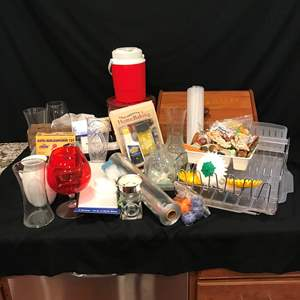 Lot # 224 - Misc. Items: Dish Drying Rack, Magnets, Foil, Bread Box, Electric Knife Sharpener & More..