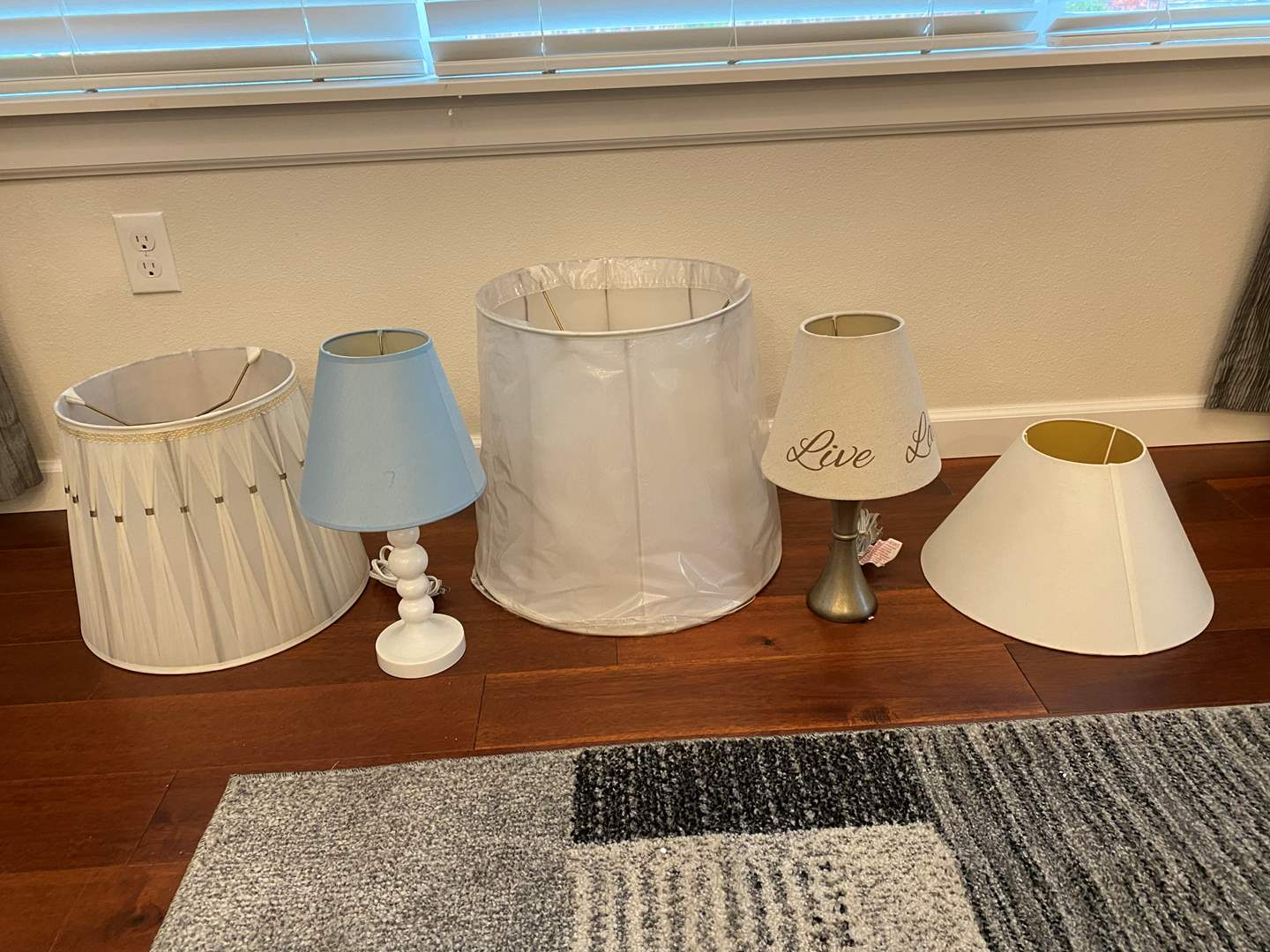 Lot # 244 - Two Small Lamps w/Three Misc. Lamp Shades (main image)