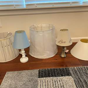 Lot # 244 - Two Small Lamps w/Three Misc. Lamp Shades
