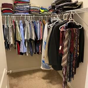 Lot # 247 - Closet Full of Mens Clothing: Blazers, Suits, Shirts, Pants, Belts & Ties