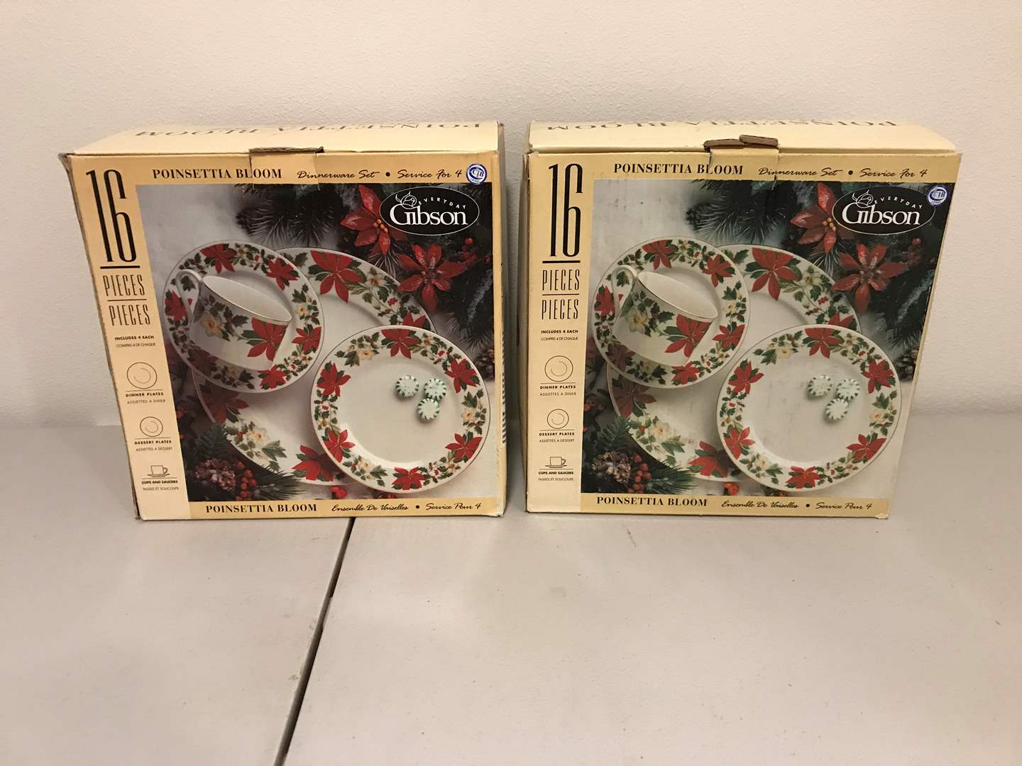 Lot # 275 - Two New in Box 16 Piece Sets of Gibson Poinsettia Bloom Dinnerware (main image)
