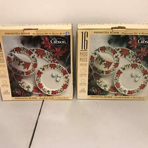 Lot # 275 - Two New in Box 16 Piece Sets of Gibson Poinsettia Bloom Dinnerware