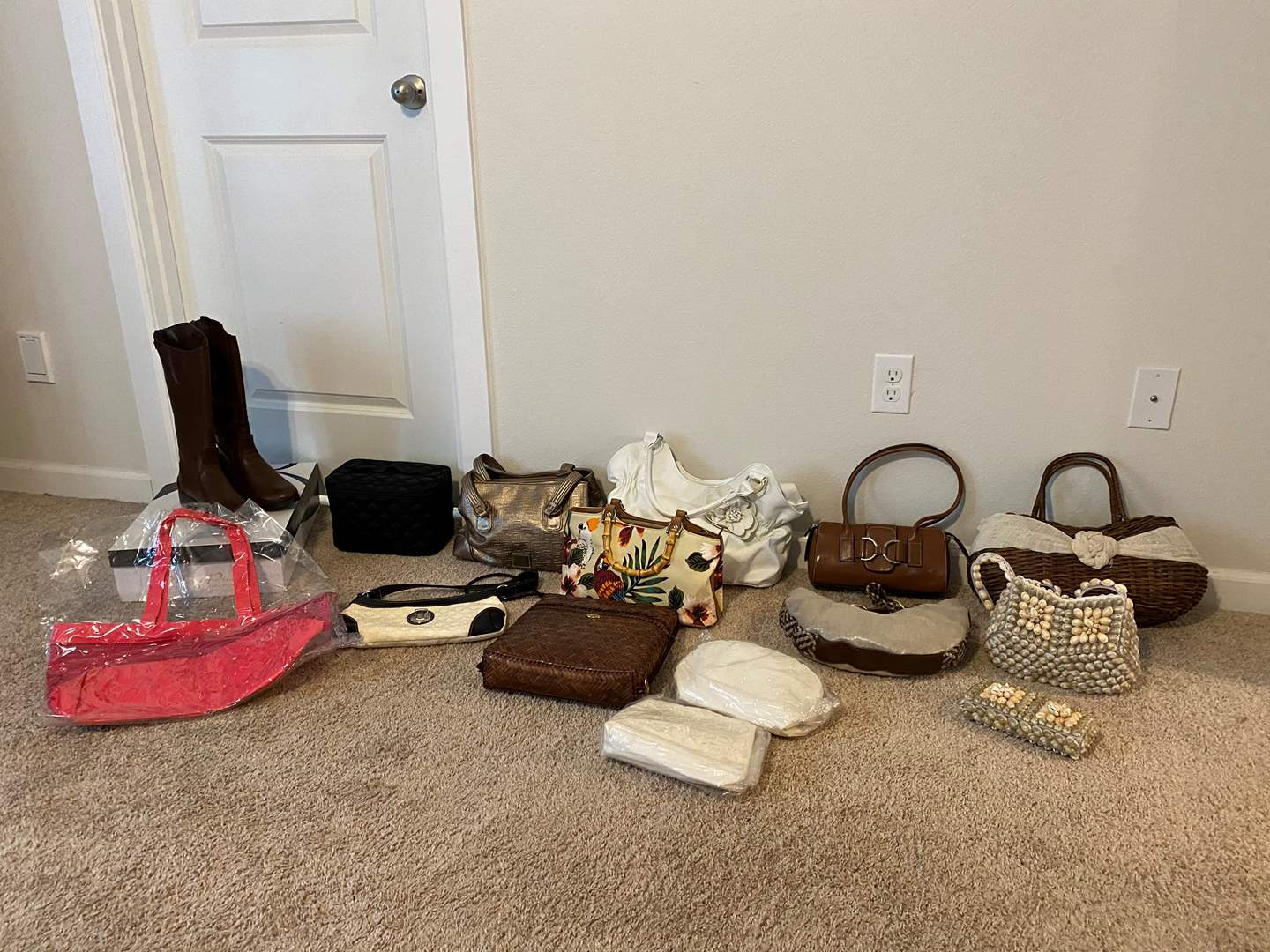 Lot # 262 - Collection of New & Used Purses/Hangbags w/New Pair of Boots - See Pictures for Details (main image)