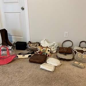 Lot # 262 - Collection of New & Used Purses/Hangbags w/New Pair of Boots - See Pictures for Details