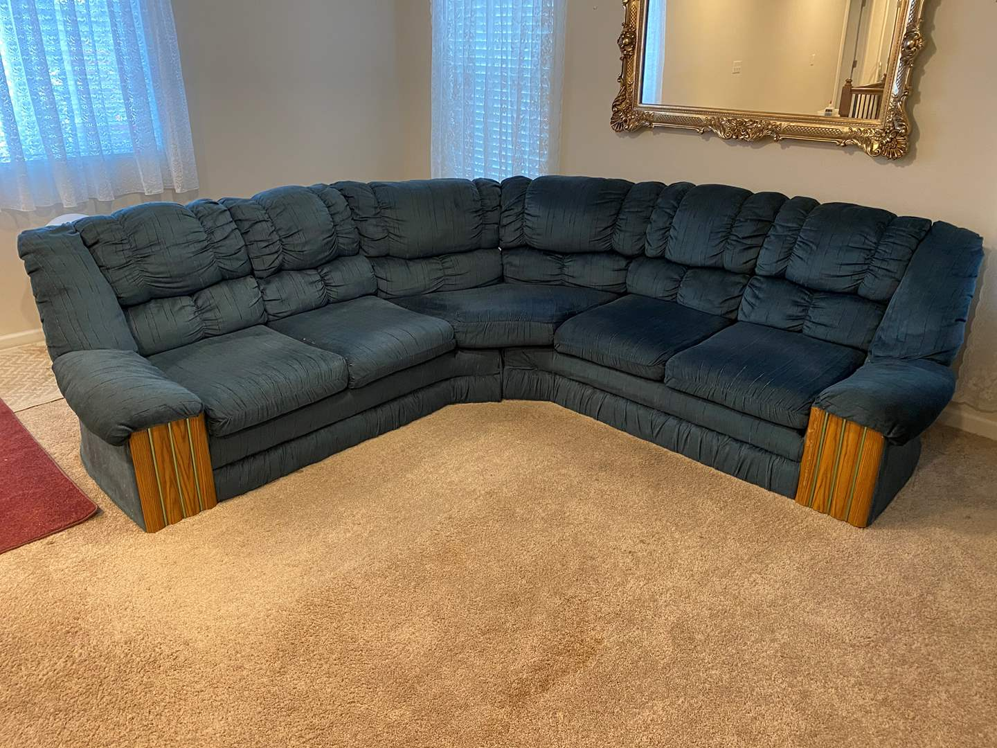 Lot # 264 - Blue Two Piece Sectional Sofa  (main image)