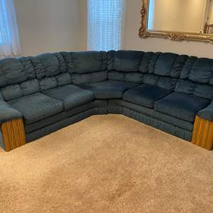 Lot # 264 - Blue Two Piece Sectional Sofa