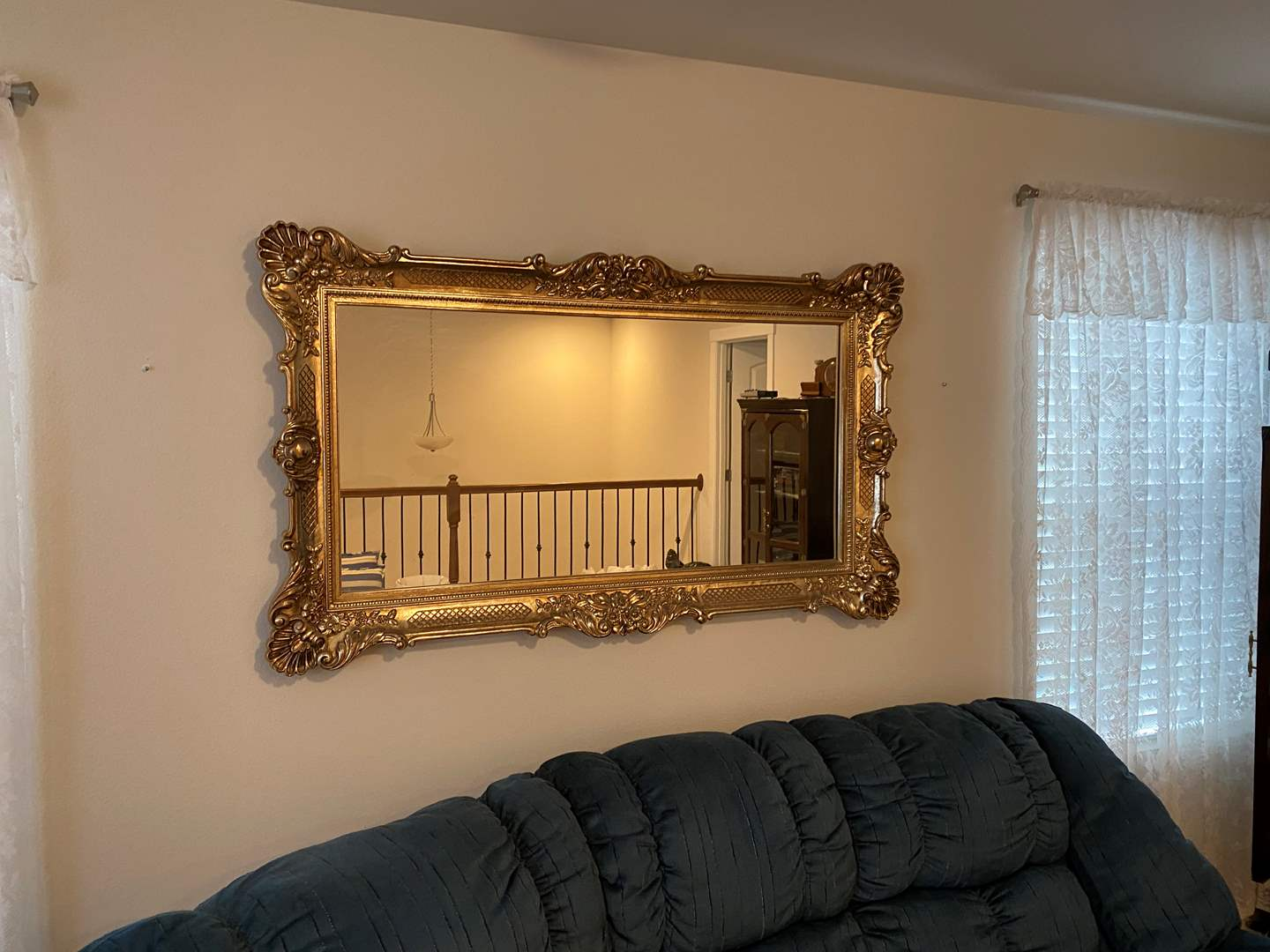 "Lot # 265 - Large Gold Toned Acrylic Framed Mirror - 57"" x 34"" (main image)"