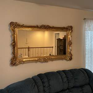 """Lot # 265 - Large Gold Toned Acrylic Framed Mirror - 57"""" x 34"""""""