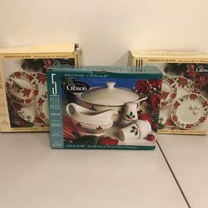 Lot # 285 - Two New in Box 16 Piece Set of Gibson Poinsettia Bloom Dishes & New in Box Gibson Holly Plaid Serving Set