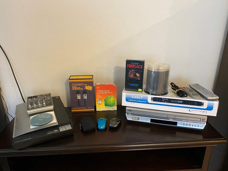 Lot # 302 - UREC7 Recording Deck, Trident Micro-Phone, Mackie 402-VL23 Mixer, Epson Scanner, JVC DVD/VHS Player & More.. (main image)