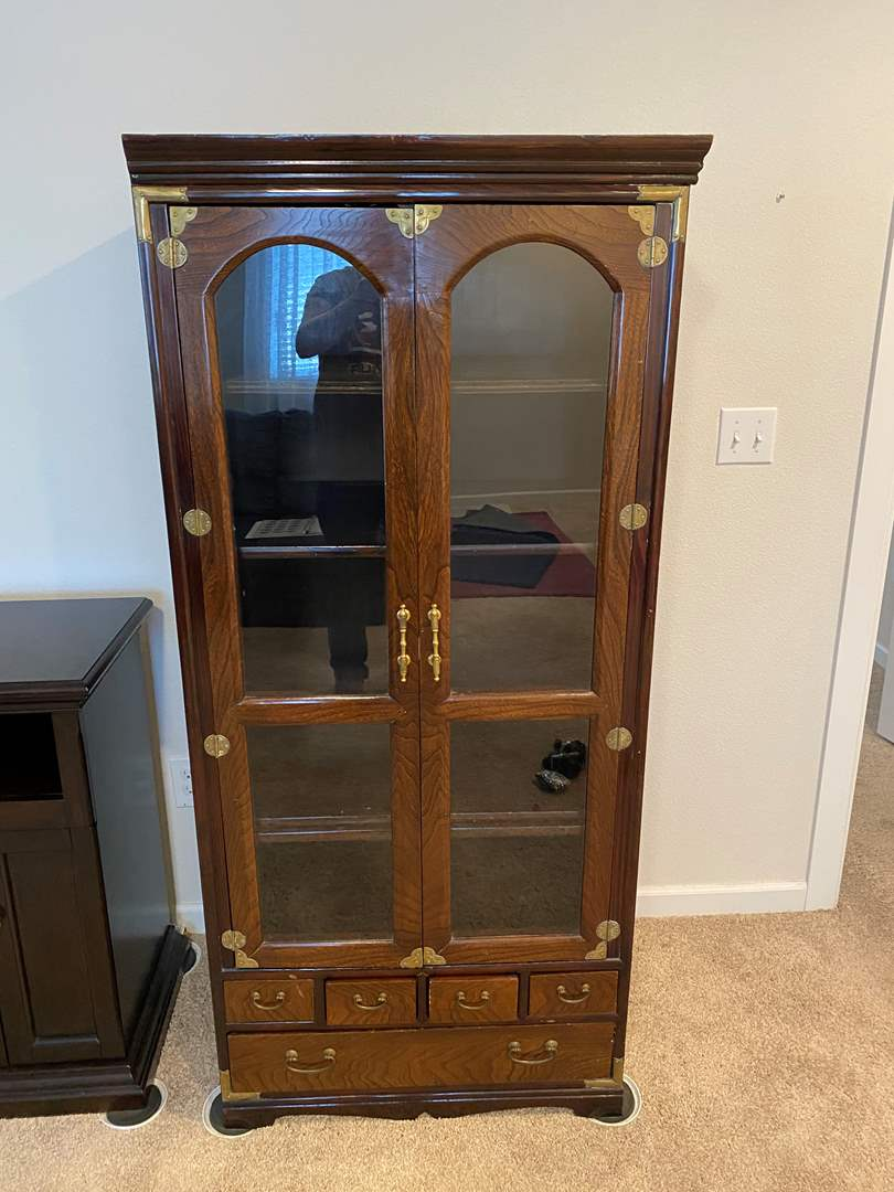 Lot # 305 - Wood Media Center w/Brass Accents (main image)