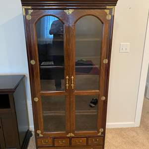 Lot # 305 - Wood Media Center w/Brass Accents