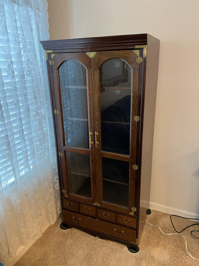 Lot # 306 - Wood Media Center w/Brass Accents (main image)