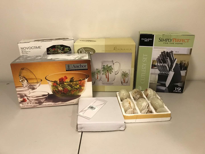 Lot # 293 - New in Box Anchor Hocking Salad Bowls, Cutlery Set, Gibson Bahama Glasses & More.. (main image)