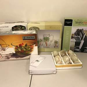 Lot # 293 - New in Box Anchor Hocking Salad Bowls, Cutlery Set, Gibson Bahama Glasses & More..