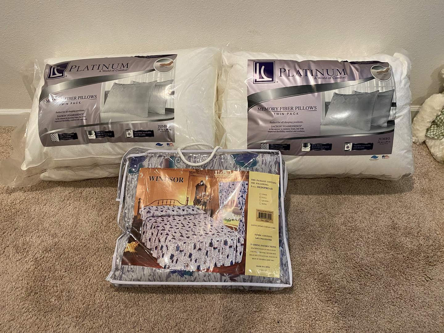 Lot # 323 - Two Packs of New Platinum Memory Fiber Pillows, New Full Sized Bed Spread (main image)