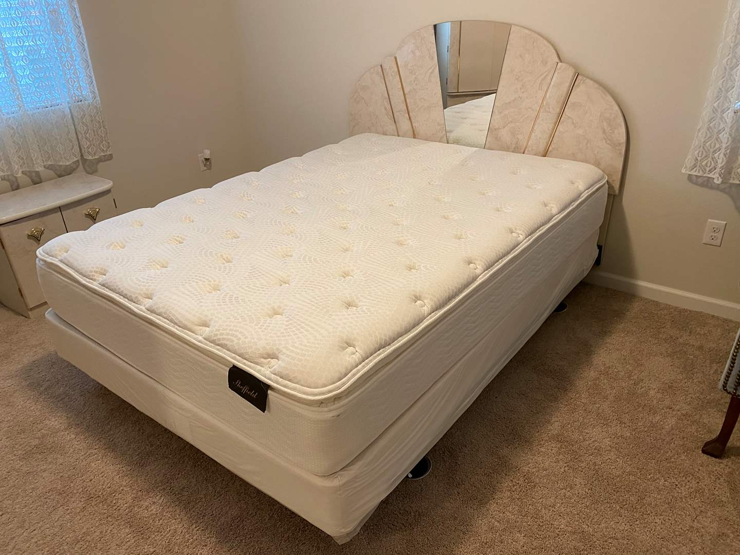 Lot # 324 - Nice Queen Size Bed Frame w/Lightly Used Sheffield Mattress & Box Spring (main image)