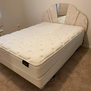 Lot # 324 - Nice Queen Size Bed Frame w/Lightly Used Sheffield Mattress & Box Spring