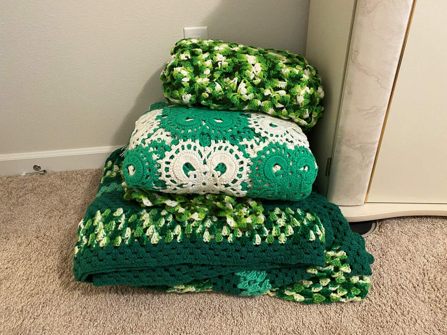 Lot # 351 - Four Green Afghans  (main image)