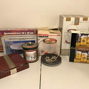 Lot # 338 - Lightly Used Rival Crock Pot, Serving Dishes, Beer Mugs & More..