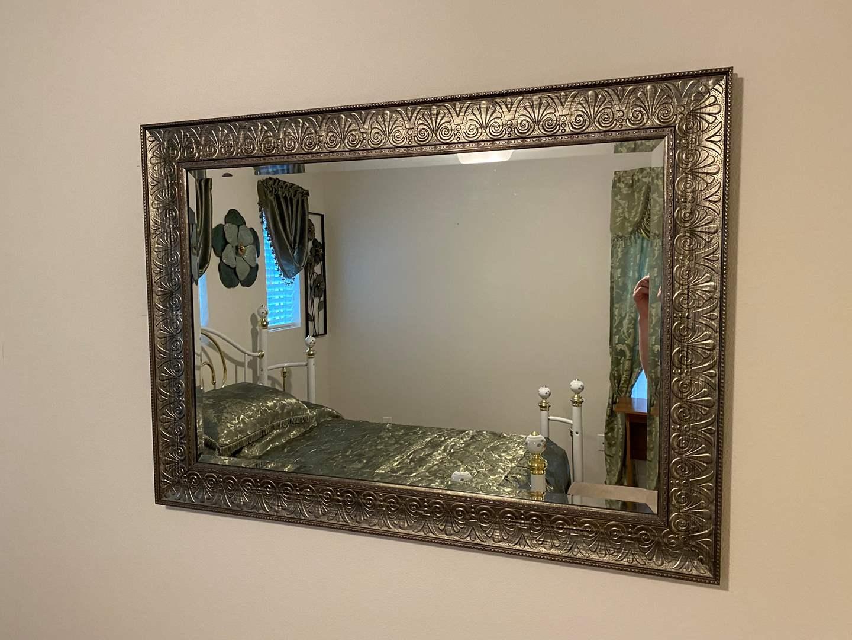 Lot # 355 - Nice Wood Framed Mirror  (main image)