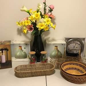 Lot # 340 - Vases, Baskets, Faux Flowers & More..