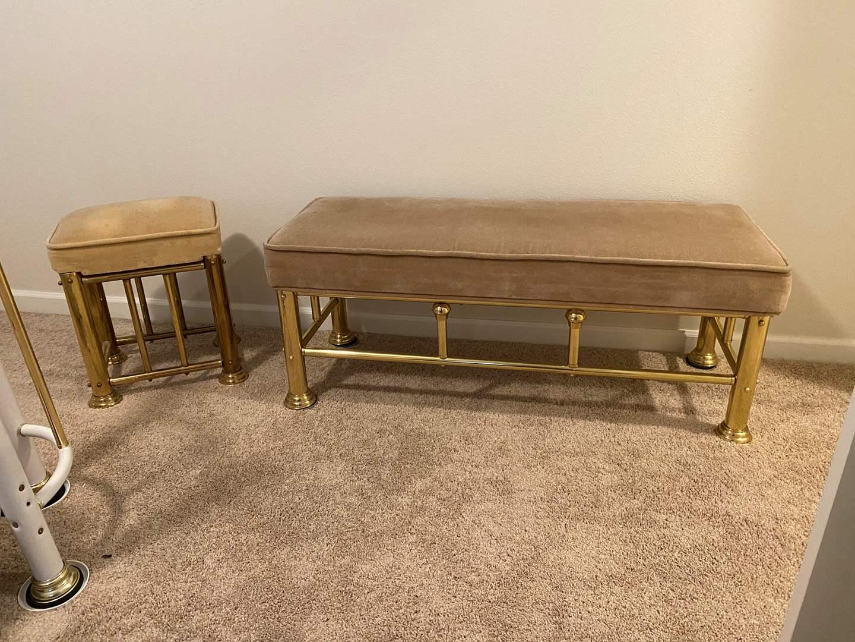 Lot # 358 - Brass Bench & Stool  (main image)