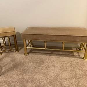 Lot # 358 - Brass Bench & Stool