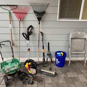 Lot # 347 - WORX Cordless Edger, Rakes, Seeder, 2 Folding Chairs