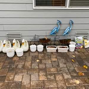 Lot # 349 - Flower Pots, Metal Planters, Yard Decor & New Patio Furniture Covers