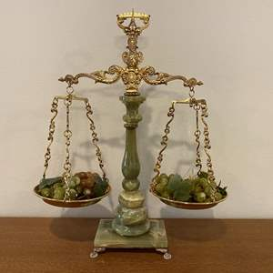 """Lot # 102 - Nice Marble & Brass Tipping Scale - 24"""" Tall"""