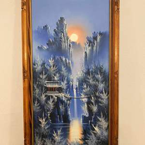 Lot # 107 - Beautiful Original Asian Oil on Canvas Signed Painting