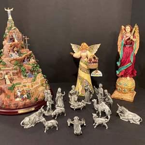 "Lot # 169 - Lighted Thomas Kinkade ""Faith Mountain"", Heavy Metal or Pewter? Nativity Scene & Angel Decor"