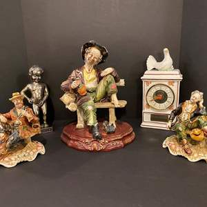 Lot # 171 - Capodimonte Figurines, Porcelain German Clock & More..
