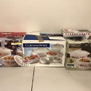 Lot # 291 - Lightly Used Corningware French White Bake & Serve Dishes, New in Box Corelle Cordinates Bake & Serve & MORE..