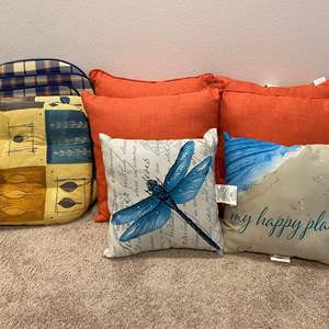 Lot # 354 - New Throw Pillows & Lightly Used Seat Cushions