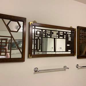 Lot # 361 - Three Wood Asian Style Mirrors